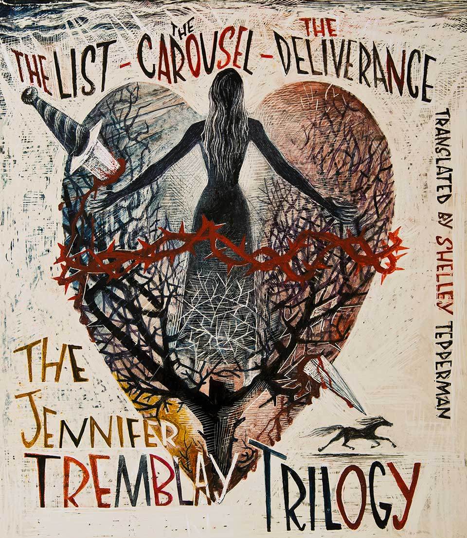 Tremblay Trilogy poster showing an illustration of a woman on top of a heart with a dagger through it and a tree of thorns