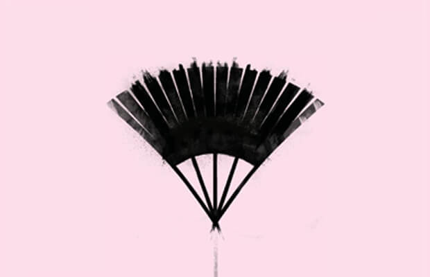 Promotional image for The Lover showing an illustration of a black fan on a light pink background