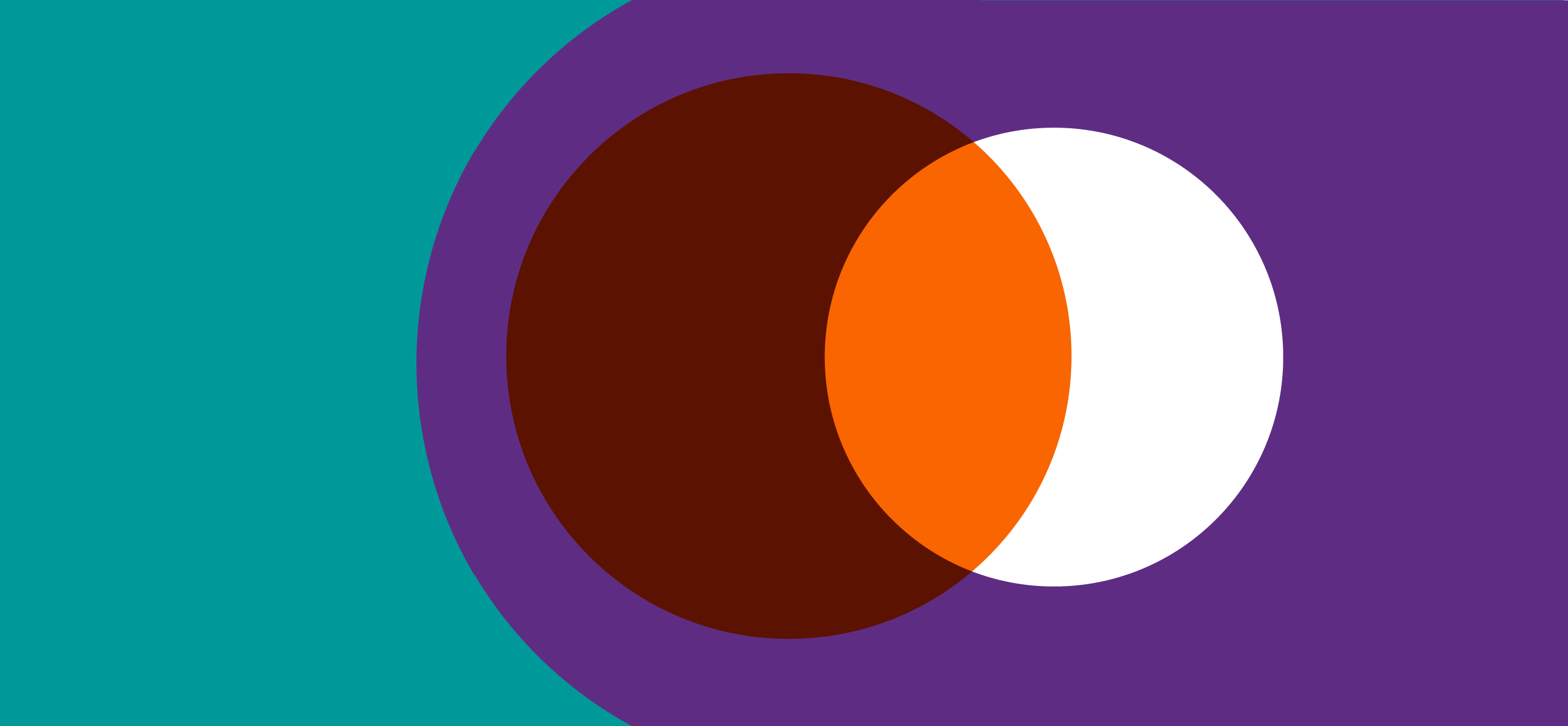 Decorative graphic with an orange circle and a white circle overlapping against a teal and purple background