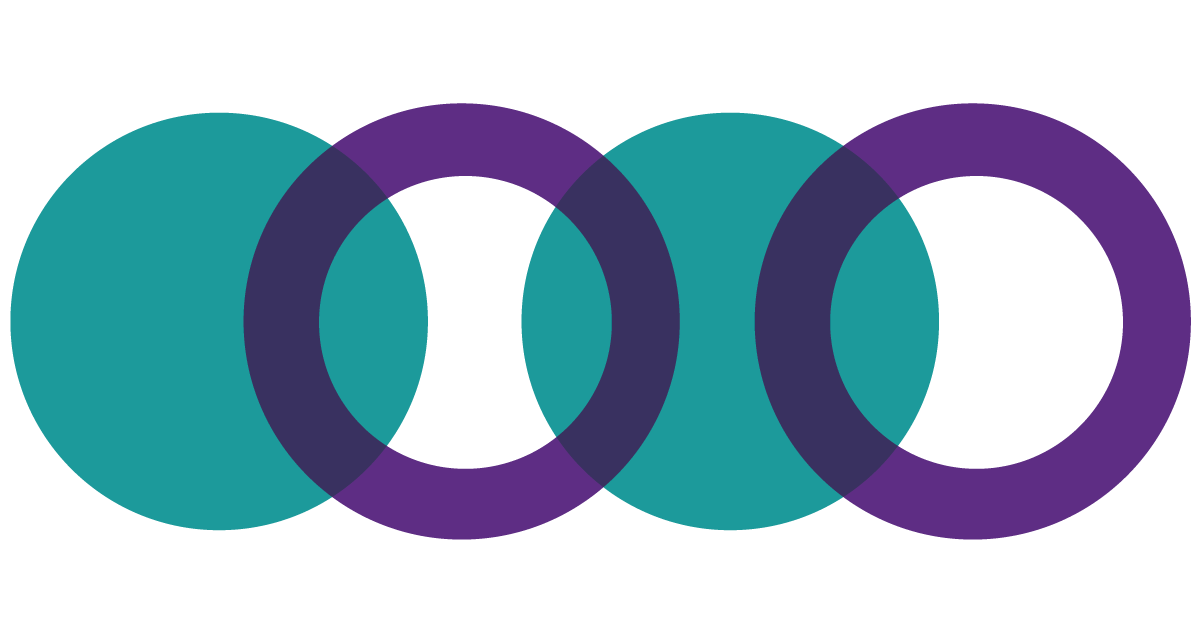 Decorative graphic showing two teal circles and two purple hoops overlapping in a line