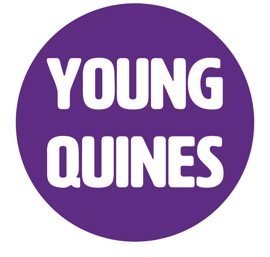 Young Quines written in white on top of a purple circle