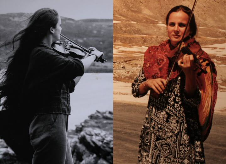 Two images of Anne Wood playing violin
