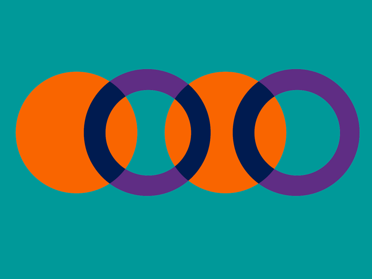 Teal background with orange circles and purple hoops overlapping