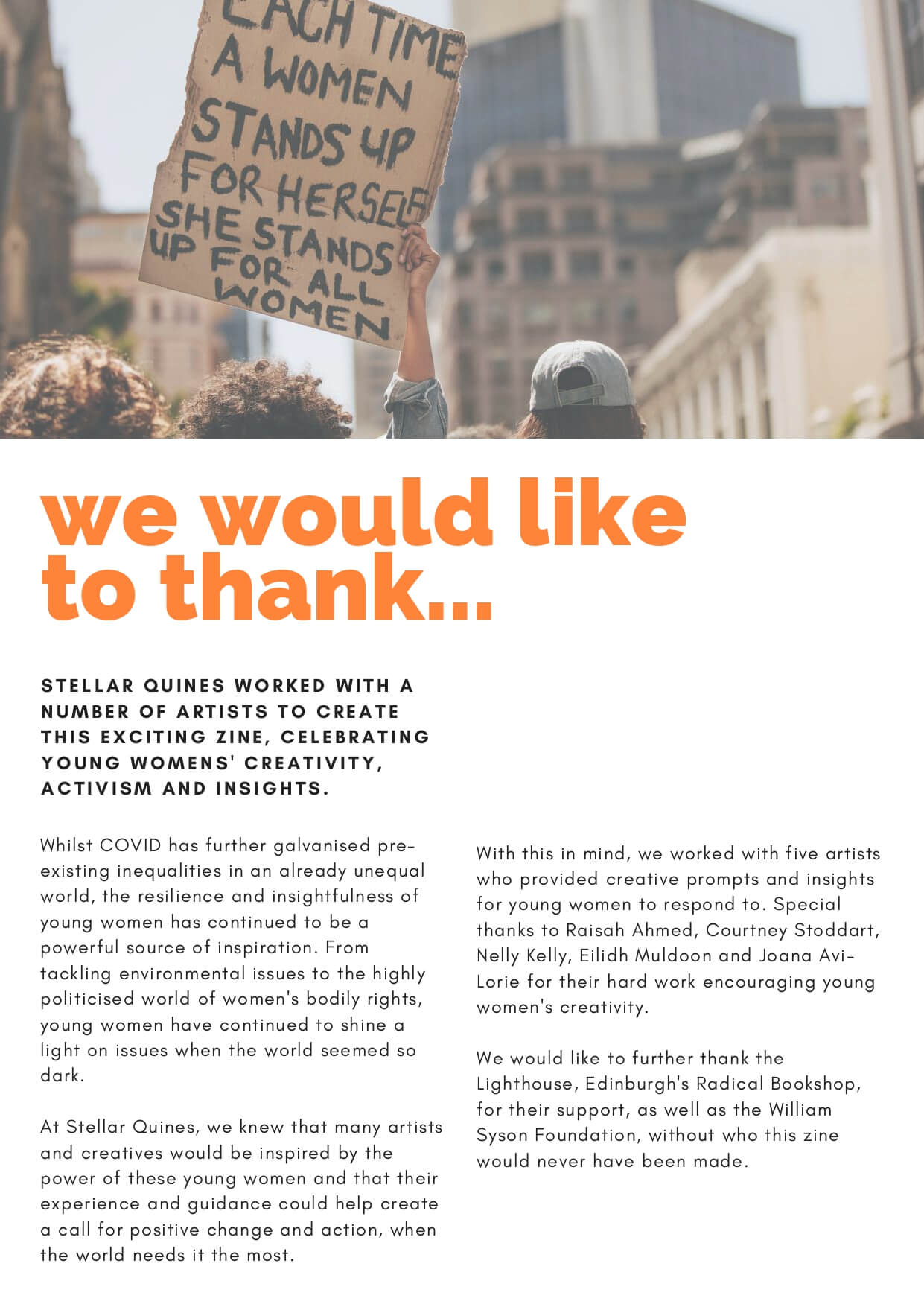 We would like to thank... How to Change the World zine intro page