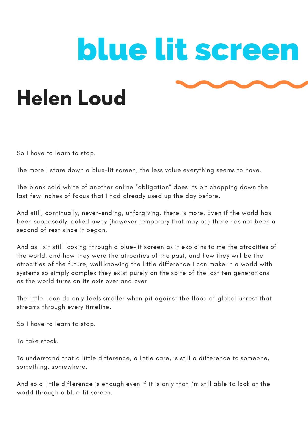 How to Change the World zine - Blue Lit Screen by Helen Loud