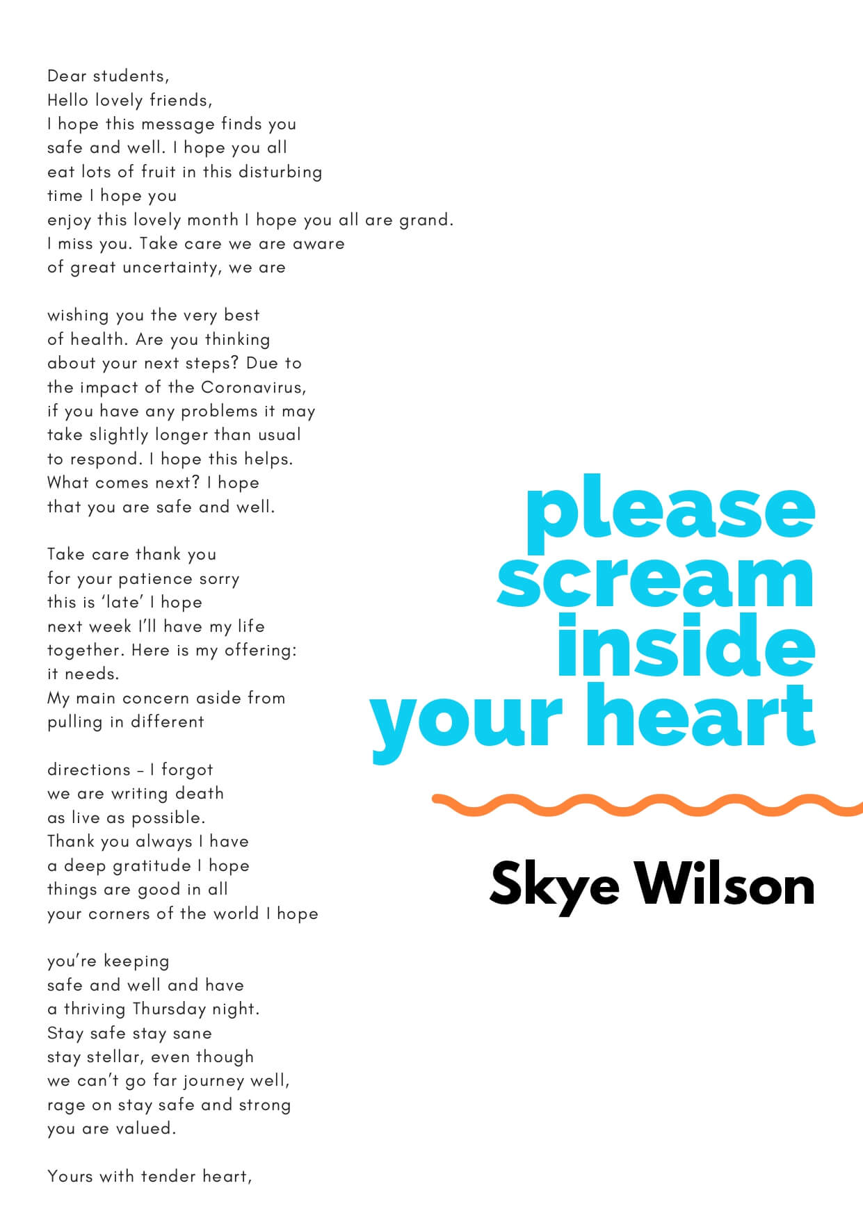 How to Change the World zine - Please Scream Inside Your Hear by Skye Wilson