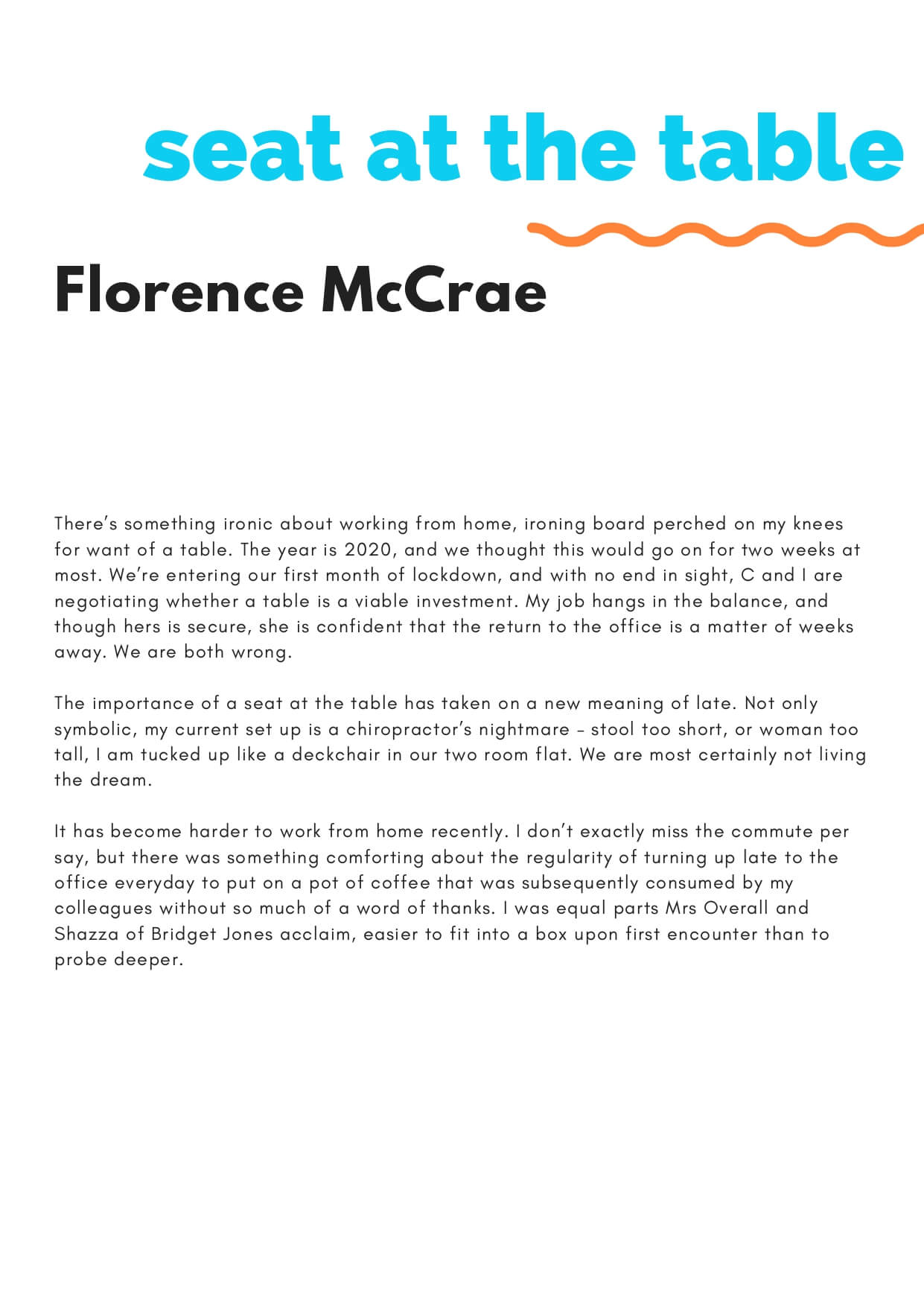 How to Change the World zine - Seat at the Table by Florence McCrae (page 1)