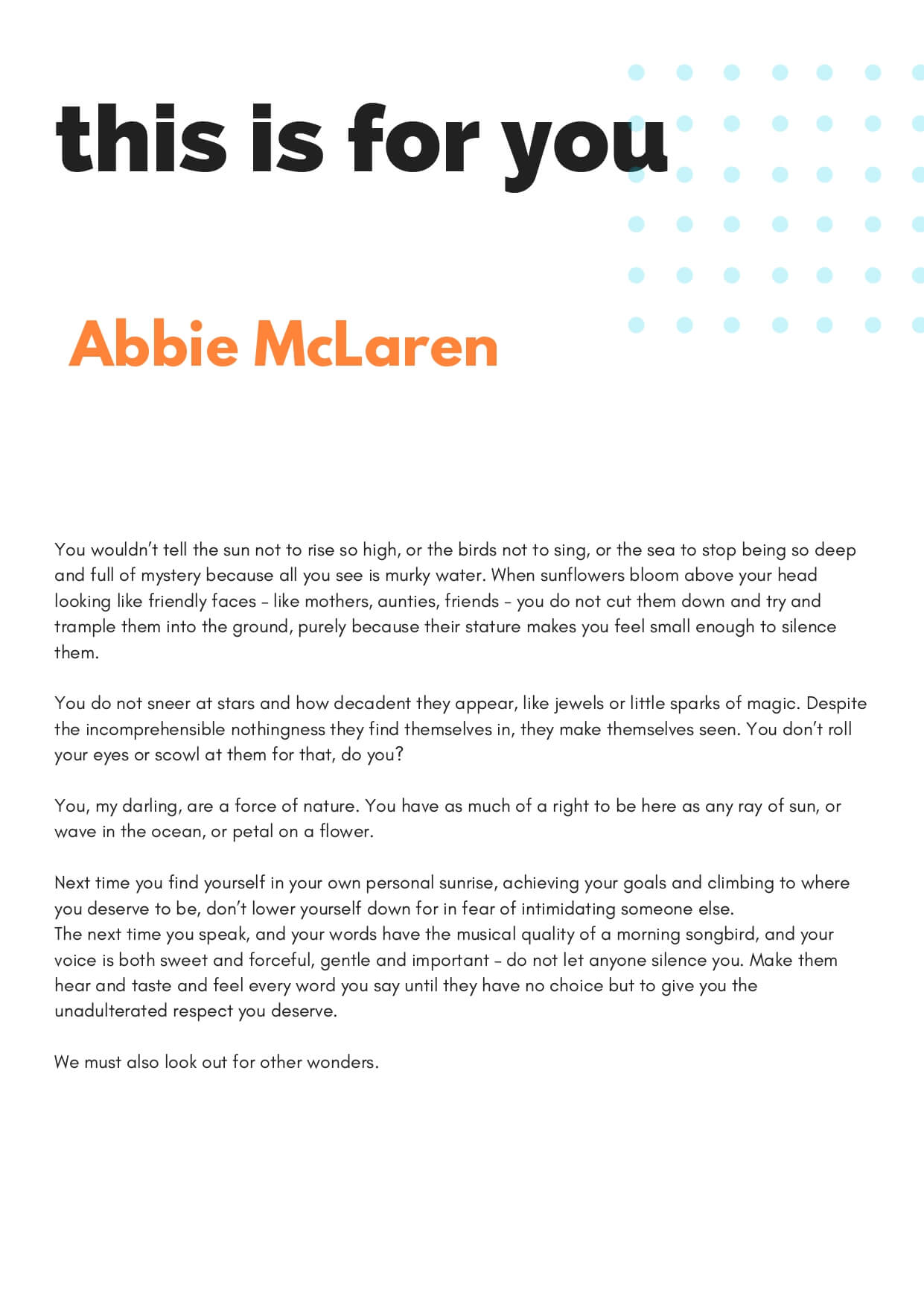 How to Change the World zine - This is for you by Abbie McLaren (page 1)