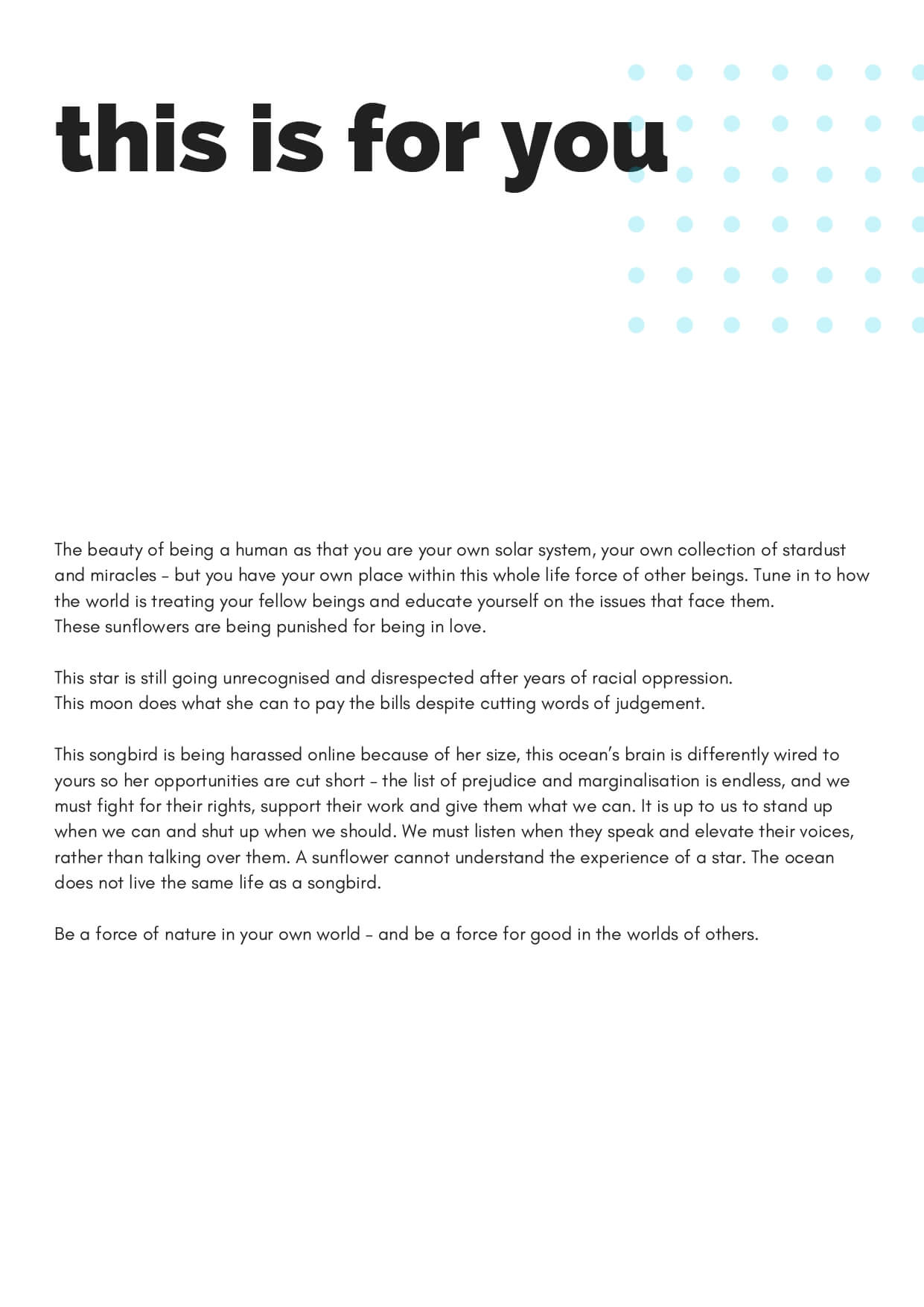 How to Change the World zine - This is for you by Abbie McLaren (page 2)