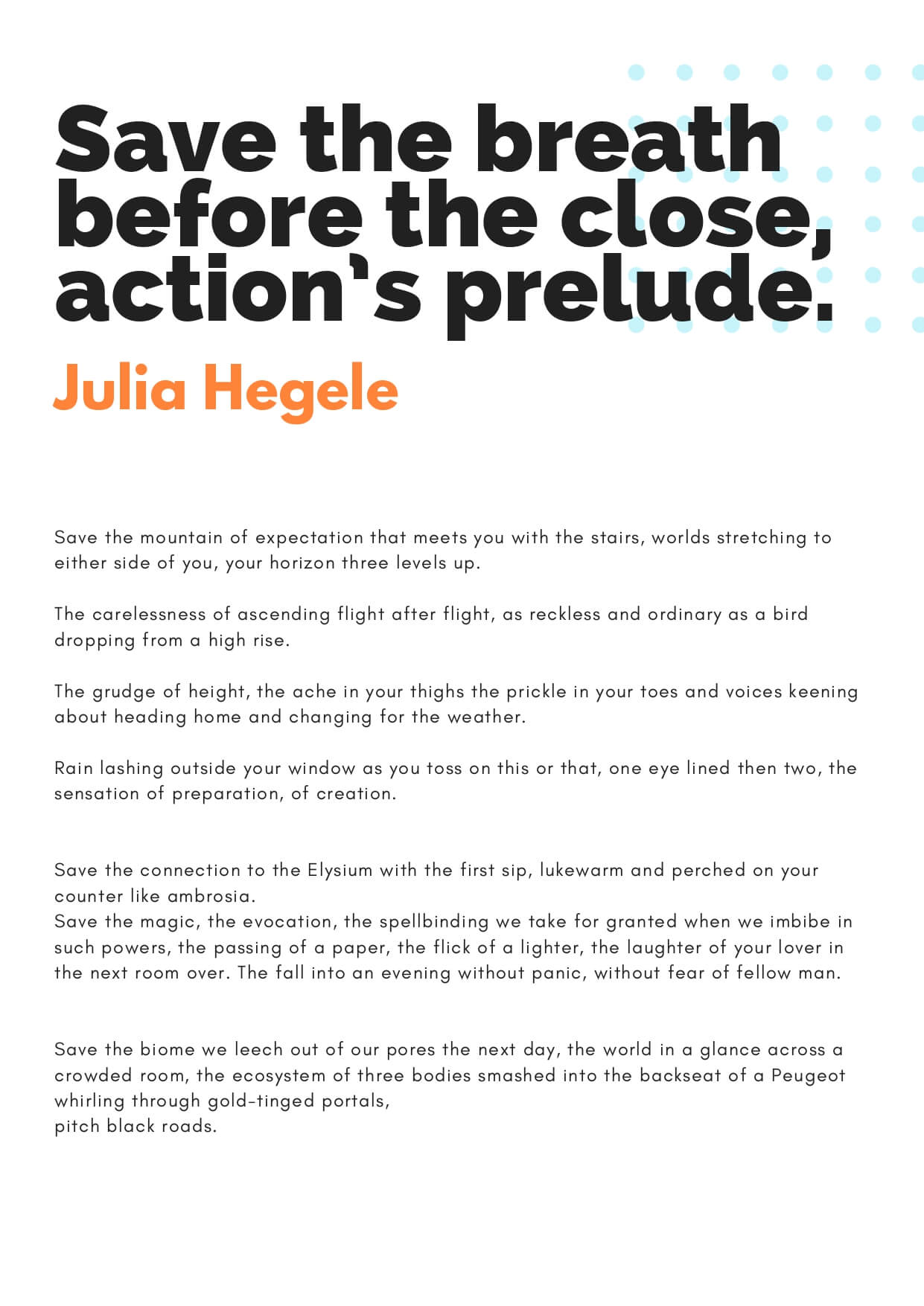 How to Change the World zine - Save the breath by Julia Hegele (page 1)
