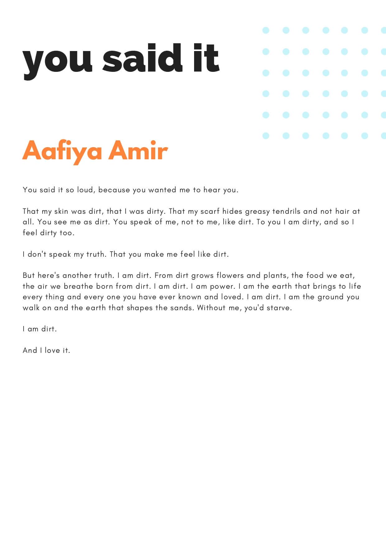 How to Change the World zine - You Said it by Aafiya Amir