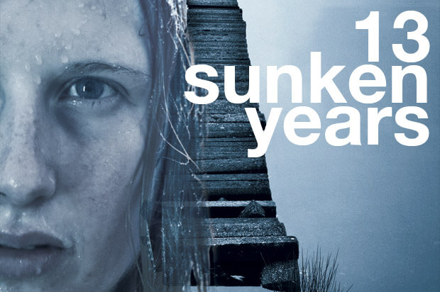 13 Sunken Years promotional image showing half of a woman's wet face in grey tones