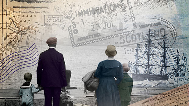 Promotional illustration for The View from Castle Rock showing two adults and two children looking out to sea, dressed in old fashioned clothes. Ships are in the background.