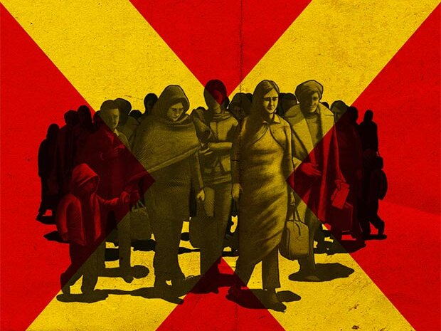 Promotional image for Last Queen of Scotland. A grayscale illustration of a group of people travelling. The background shows a cross, reminiscent of the Scottish saltire flag, but in yellow and red, two colours of the Ugandan flag