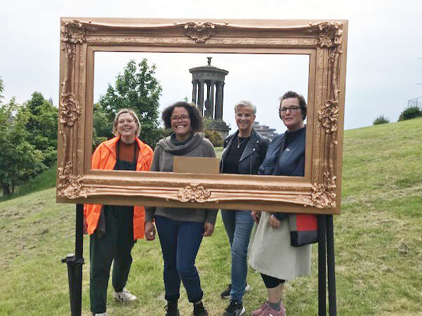 Natasha lee-Walsh, Lesley Orr from the Stellar Quines Board with Barbie Lyon and Caitlin Skinner from the staff team