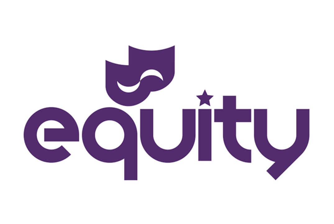 Purple equity logo with theatre face mask motif