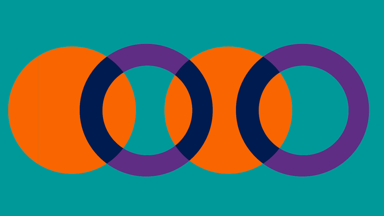 Teal background with overlapping purple rings and orange circles
