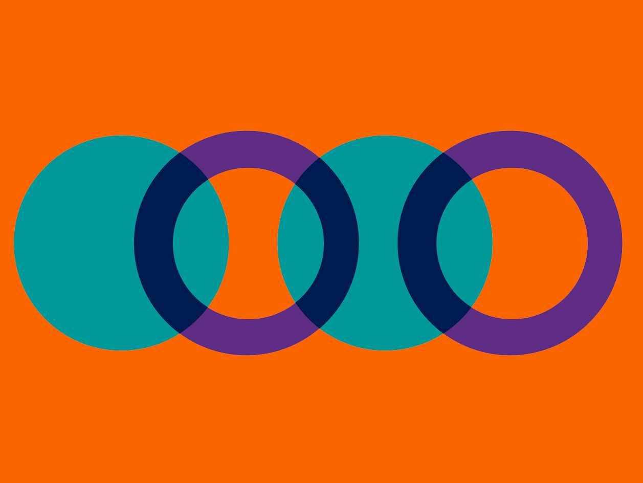 Orange background and teal and purple overlapping circles on the right