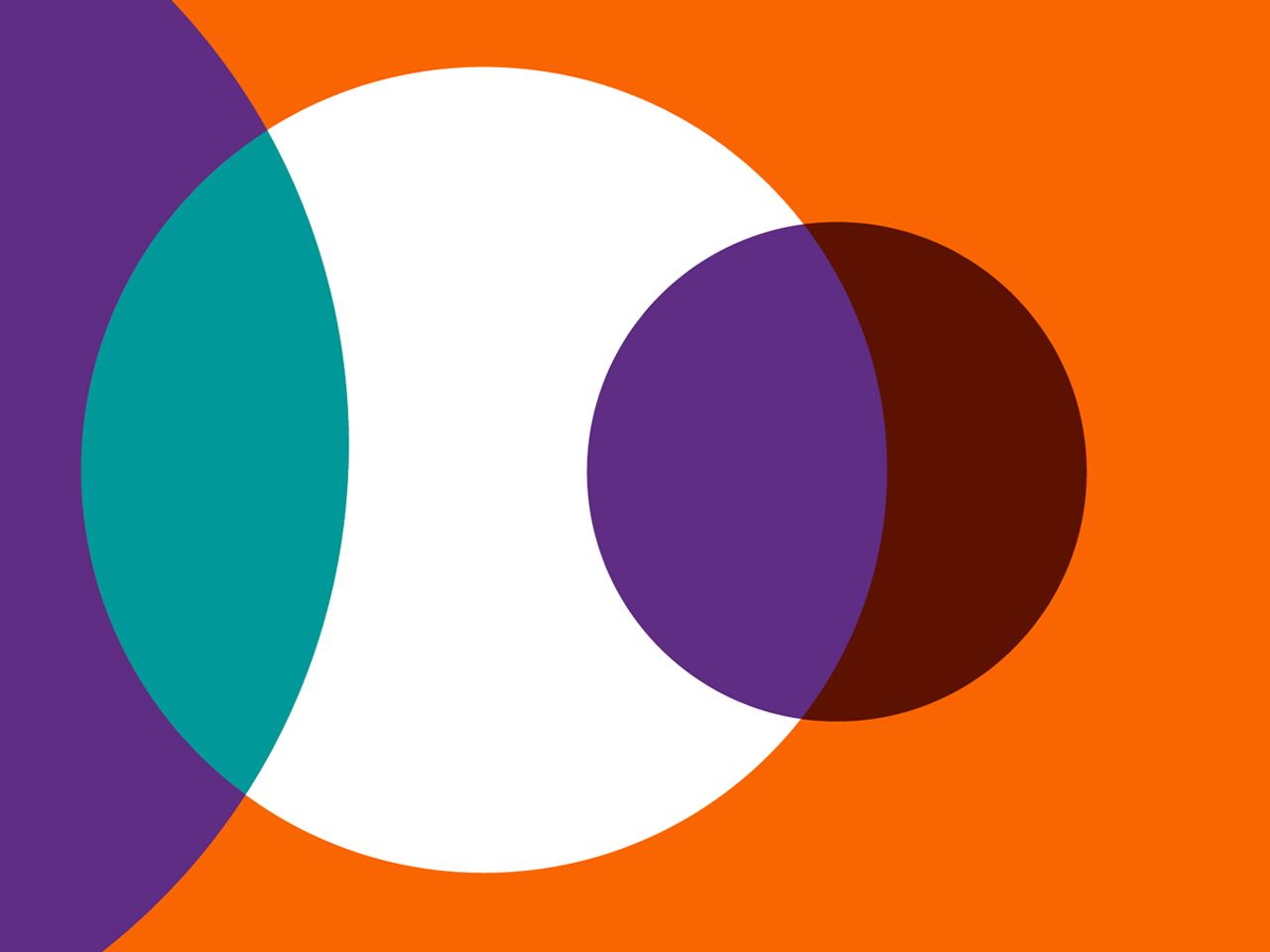 orange background with white and purple and teal overlapping circles