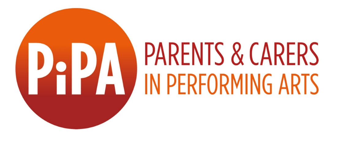 PiPA logo Parents and Carers in performing Arts. Red circle with orange text