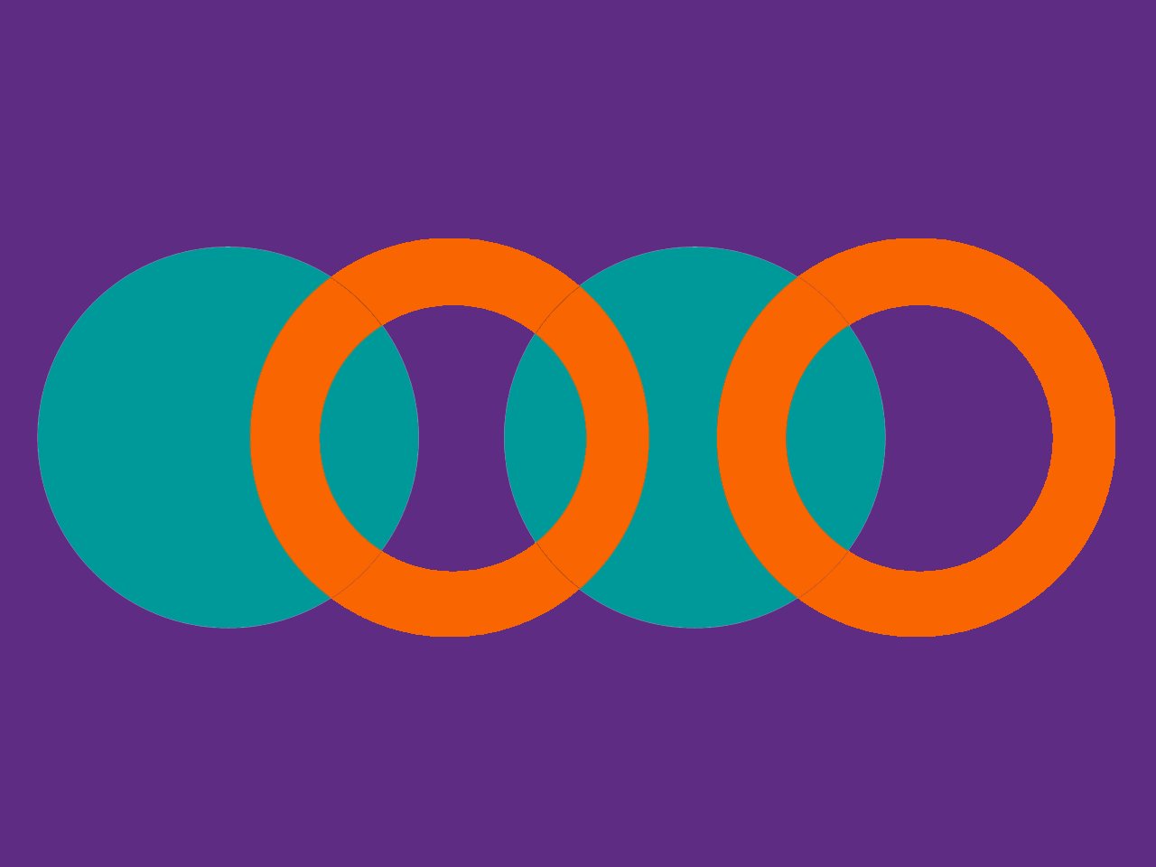 Purple background with orange rings and teal overlapping circles