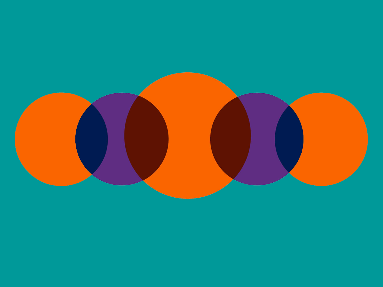 Teal background with orange and purple overlapping circles
